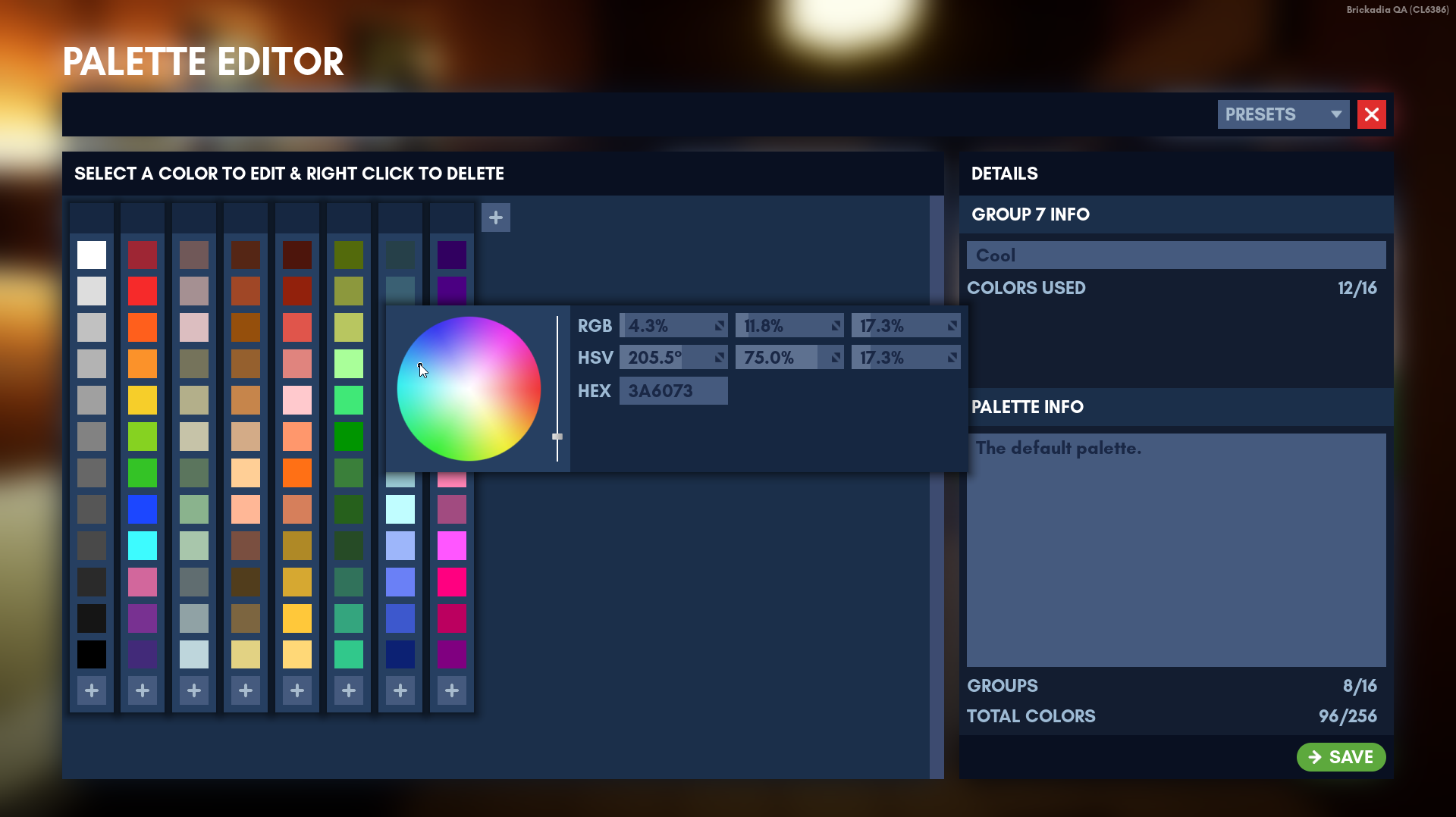 Modifying the new default palette in the editor